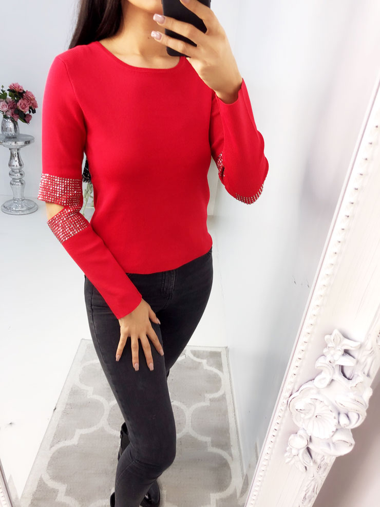 Aussie Studded Cut Out Arm Detailed Knitted Jumper - Red