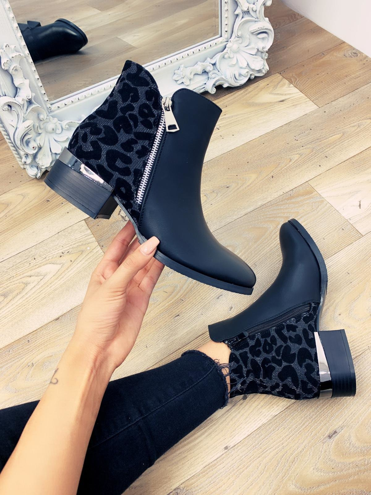 Lucent Black Faux Leather Silver Leopard Ankle Boots