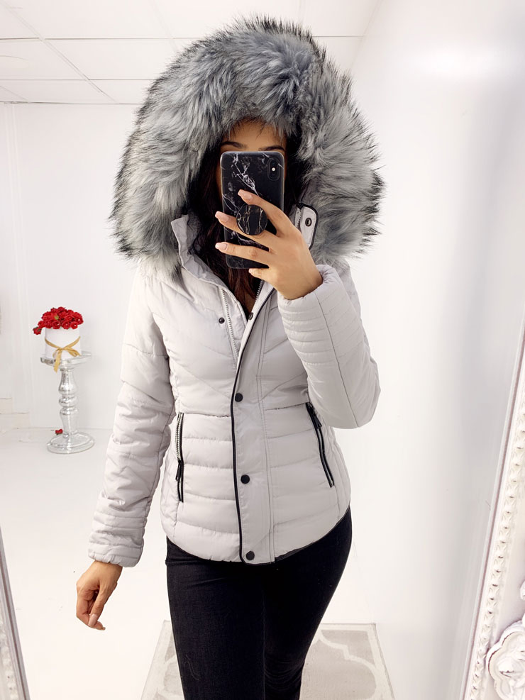 Ursula GREY Padded Faux Fur Hooded Coat