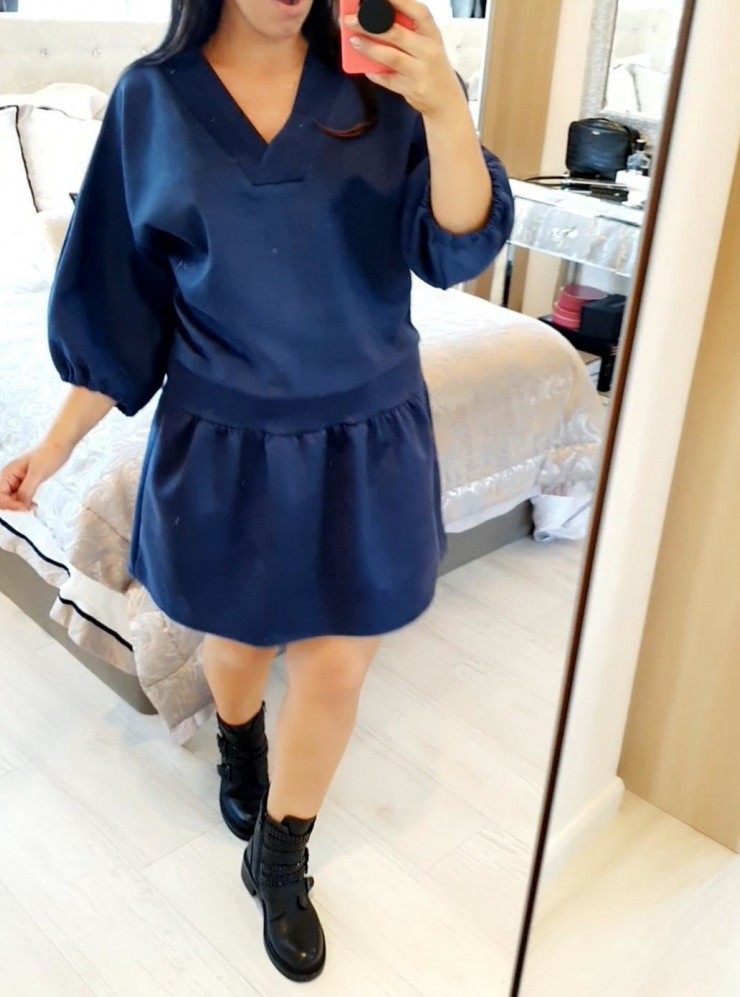 Lizban Oversized Faux Suede Smock Dress