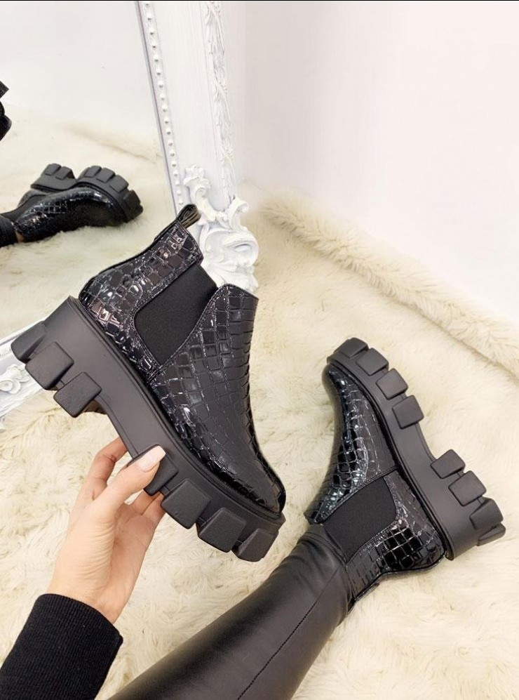 Brenda Shiny Croc Faux Leather Chunky Boots
