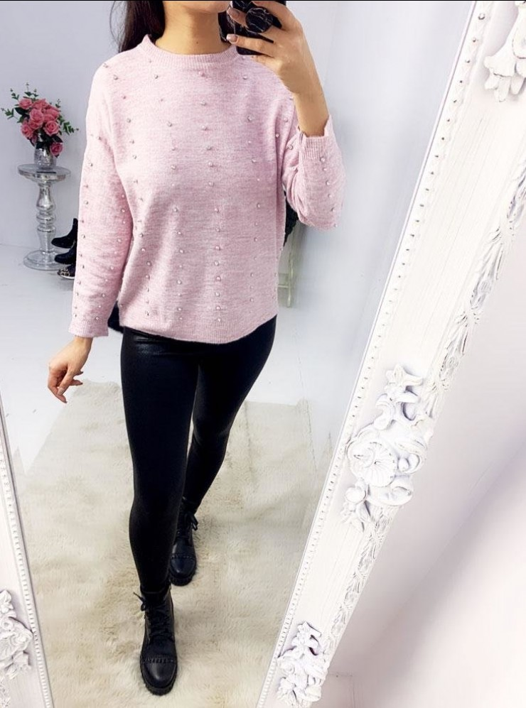 Effy Studded Diamante Pearl Loose Fit Jumper