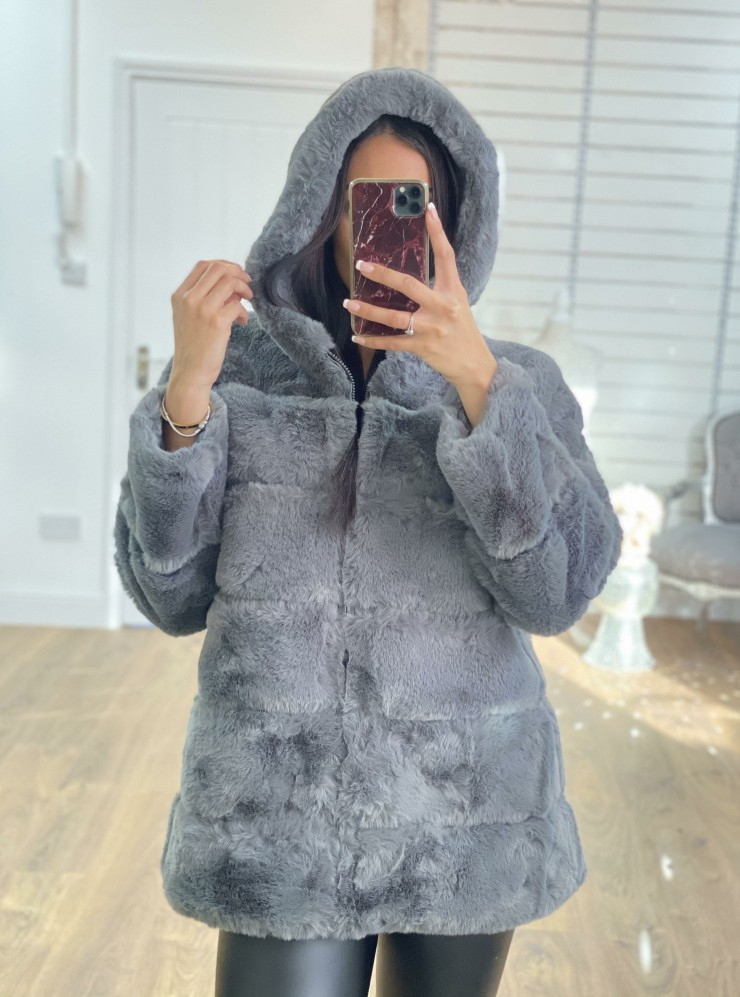 Courtney Grey Faux Fur Panelled Hooded Coat