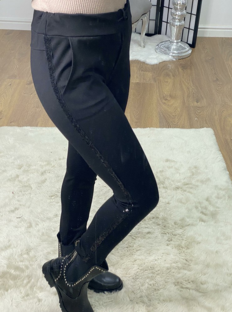 Nell Super Soft Black Sequin Detailed Joggers