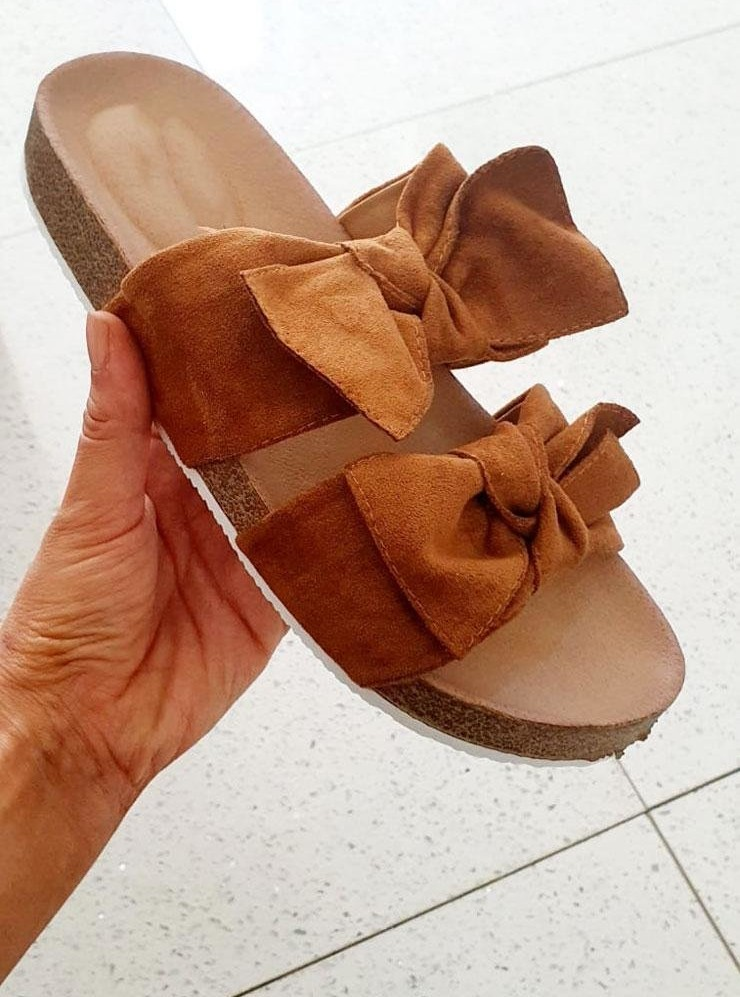 Pimsy Double Strap Faux Suede Bow Sliders