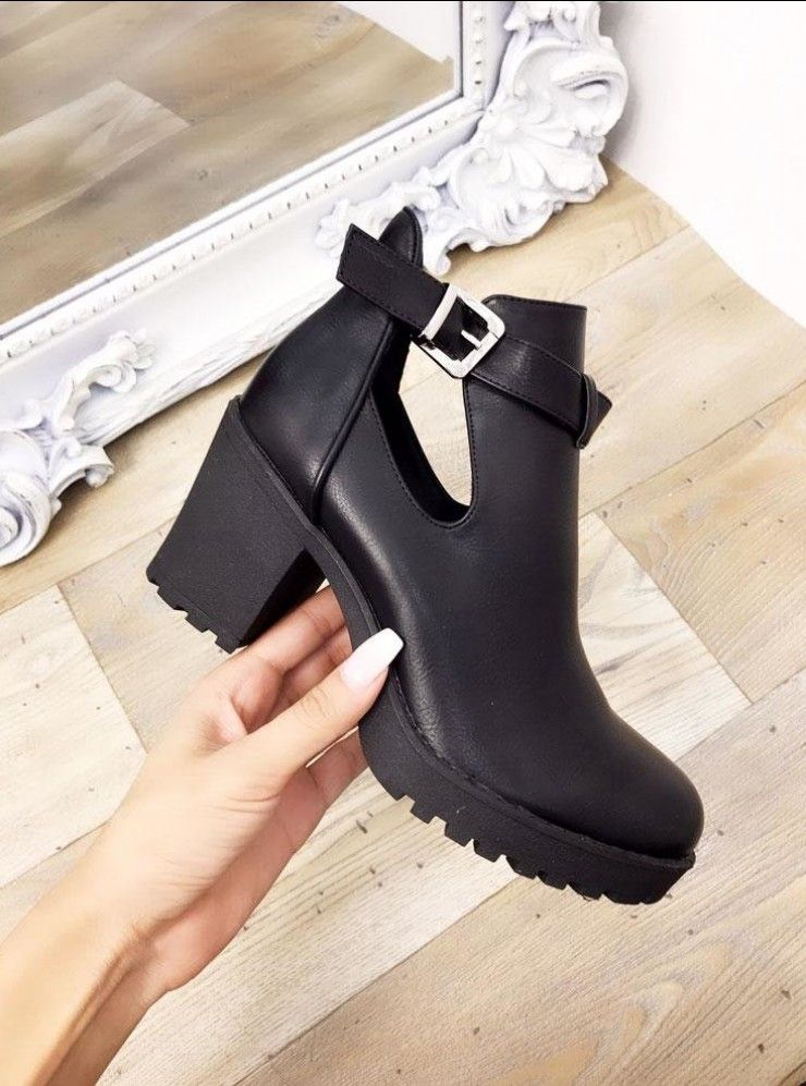 Raquel Faux Leather Cut Out Chunky Boots