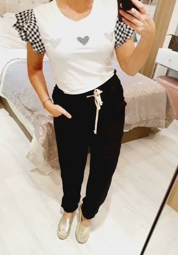 Blanche Checked Frill Sleeve Diamante Heart Detailed T-shirt
