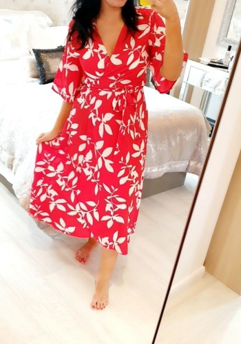 Brynley Red Leaf Printed Wrap Dress
