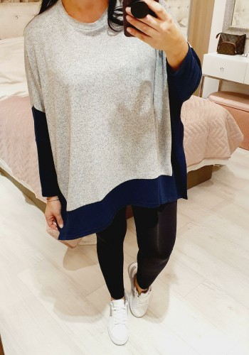 Lindy Oversized Two Tone Split Side Thin Knit Jumper