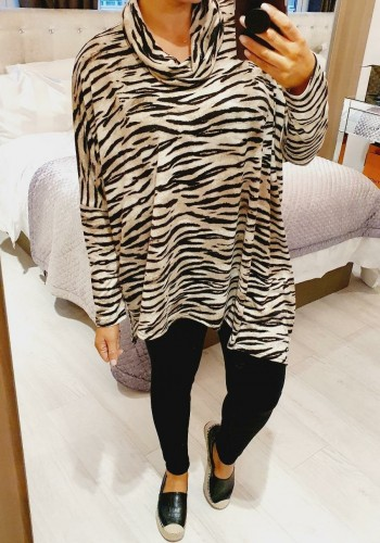 Aria Zebra Printed Roll Neck Thin Knit Jumper