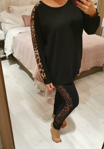 Jadey Leopard Panel Print Oversized Loungewear Set