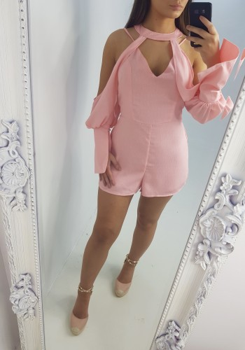 Laken Choker Cold Shoulder Flared Sleeve Playsuit