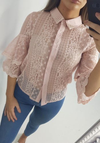 Alma Studded Collar Crochet Detail Shirt