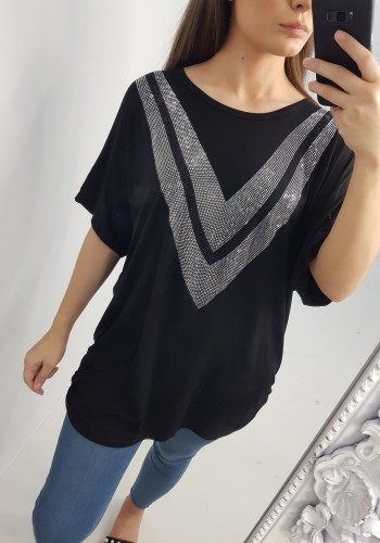 Aeris V Shape Diamante Detail Oversized Top