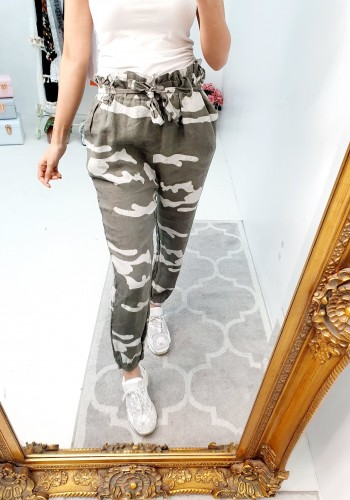 Paigey Camo Linen Paperbag Tie Waist Trousers