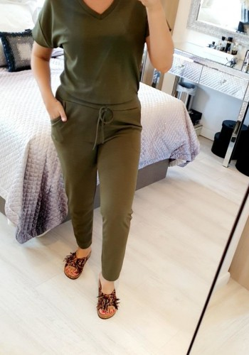Polina Plain V-Neck Loungewear Set