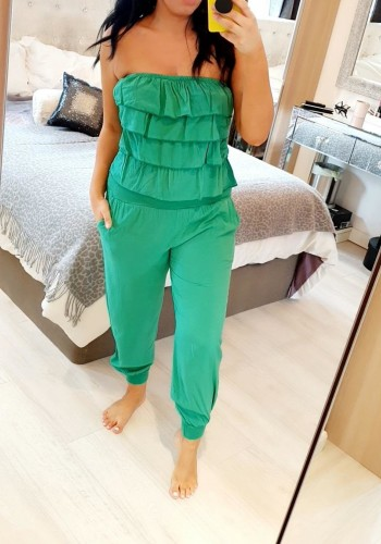 Celina Ruffle Bardot Elasticated Jumpsuit