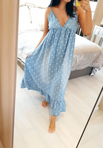 Arley Denim Polka Dot Maxi Dress