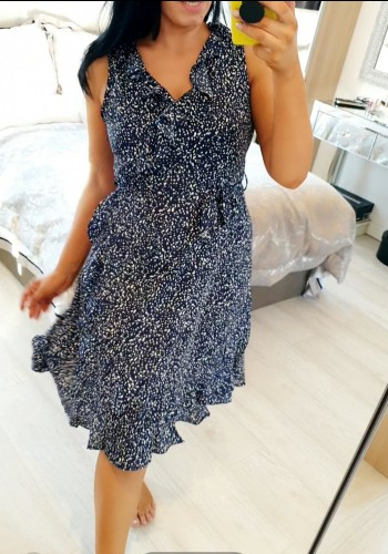 Havana Navy Ruffle Front Polka Dot Dress