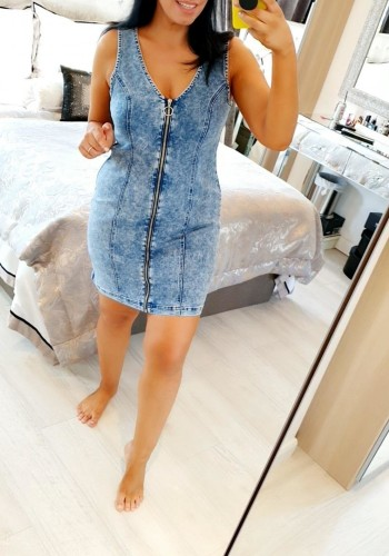 Ashley Denim Zip Front Mini Dress