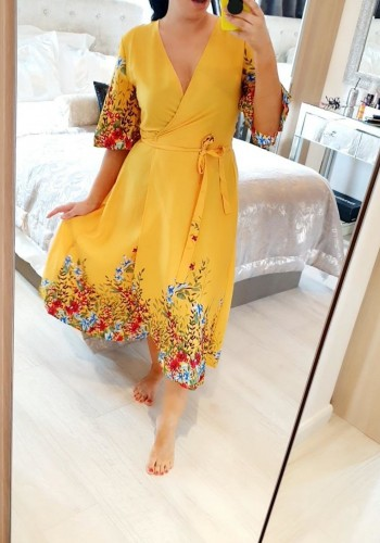 Nyomi Mustard Wrap Floral Print Dress