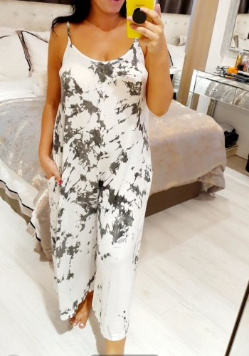 Chaya Marble Print Wide 3/4 Leg Jumpsuit
