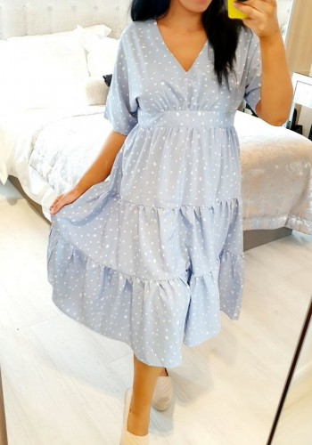 Bekha Baby Blue Polka Dot Smock Tie Waist Dress