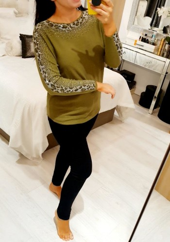 Fernie Leopard Panel Diamante Detailed Knitted Jumper