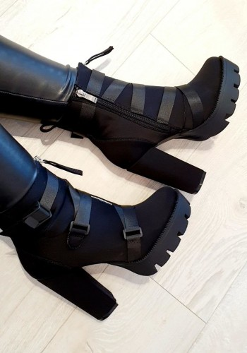 Blakely Black Scuba Buckle Strappy Chunky Heel Boots