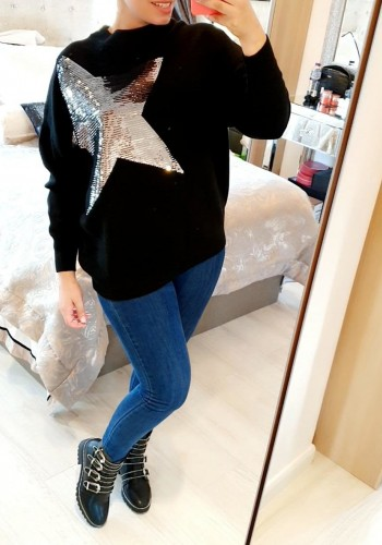 Bennie Sequin Star Detailed Soft Knit Jumper