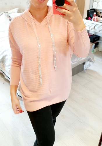 Riley Oversized Ribbed Diamante Hooded Knit Jumper