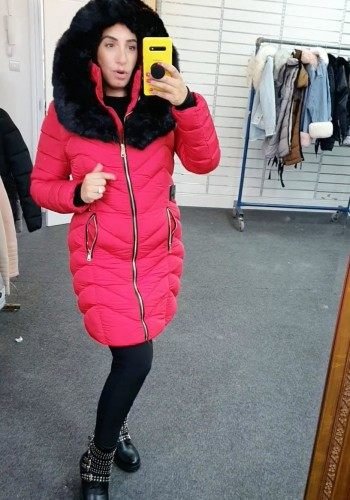 Lorna Red Faux Fur Hooded Belt Coat