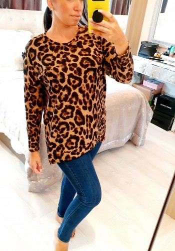 Janelle Leopard Print Dipped Hem Loose Fit Top