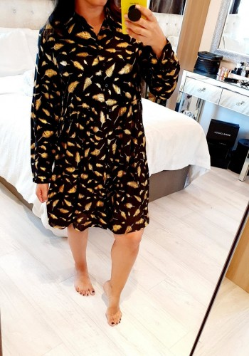 Simmie Gold Feather Print Black Shirt Dress