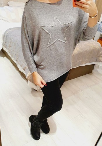 Clairey Super Soft Crushed Diamante Star Thin Knit Jumper