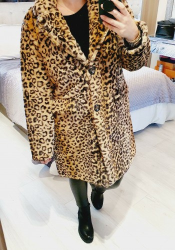 Carah Leopard Teddy Oversized Coat