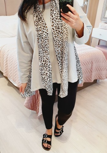 Luxe Leopard Detailed 2 Piece Scarf Sweatshirt