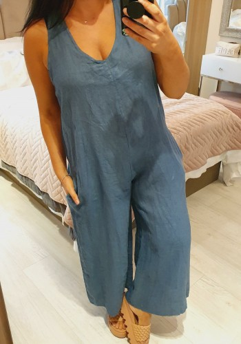 Mayleen Andy Pandy Tie Back Linen Jumpsuit