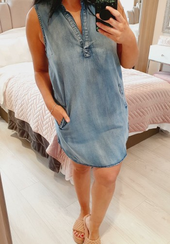 Caprina Denim Pocket Detailed Collar Shift Dress