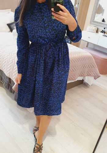 Louanna Royal Blue Leopard Tie Waist Midi Dress