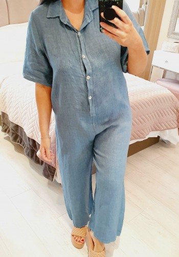 Mae Linen Button Detailed Straight Leg Jumpsuit