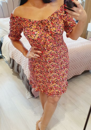 Veronique Floral Puff Sleeve Sweetheart Mini Dress