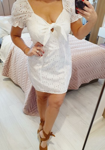 Mahina White Embroidery Anglaise Tie Bow Summer Dress