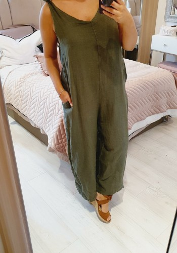 Royah Linen Twist Strap Tie Back Oversized Jumpsuit