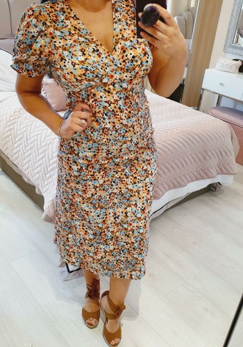 Parrell Puff Sleeve Multi Swing Dress