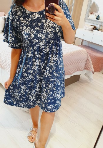 Easton Floral Navy Double Layer Smock Dress
