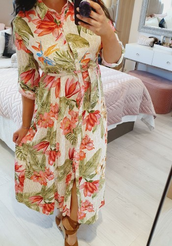 Keenan Tropical Floaty Swing Shirt Dress