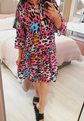 Mitsy Leopard Print Floaty Smock Dress
