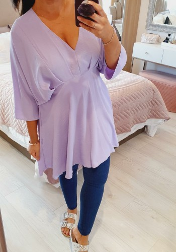 Alendra Rouched Batwing Bell Sleeve Top