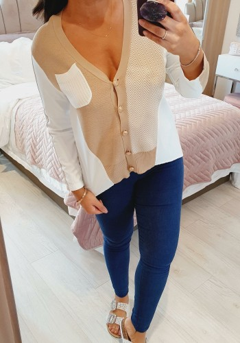 Arora Chiffon Knitted Button Cardigan